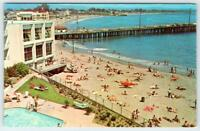 COWELL BEACH SANTA CRUZ CA MONTEREY BAY DREAM INN CASINO WHARF 1950's POSTCARD