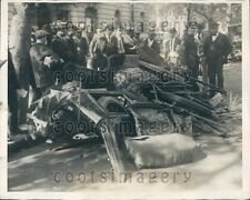 1924 Police at Wreckage of Auto Washington DC Street Car Collision Press Photo