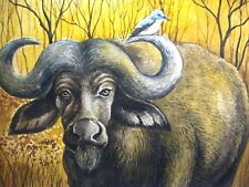 Watercolor Painting Animals African Bull Bird Nature Art 5x7