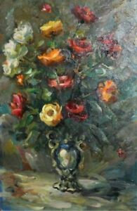 1987 Floral Still Life oil painting signed