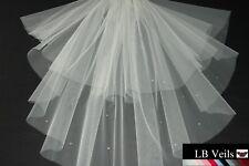 Bouffant Veil Crystal Wedding Shoulder Length Ivory Short Sparkle LBV154 UK