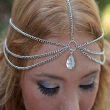 Bohemian Silver Tassel Tear Drop Head Chain Boho Headband headwear Bohemian
