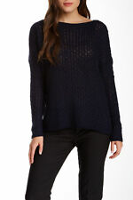 SZ L Vince Boatneck Blue Navy Mini Cable Knit Long Sleeve Sweater $285