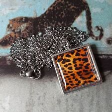 Unique LEOPARD PRINT NECKLACE handmade  BIG CAT cool for cats MIXED UP DOLLY