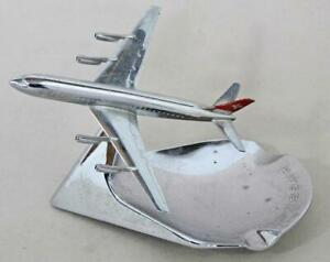 SWISSAIR Chrome DC-8 Jet Aircraft Ashtray BUHLER 6491 Good Condition airliner