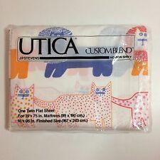 UTICA Custom Blend (1) Twin Flat Bed Sheet - Elephants, Cats, Lions - NEW