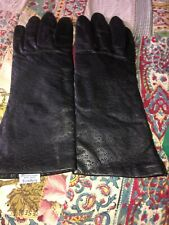 Short Black Leather Gloves Woman's Visage Great Shape 7 1/2