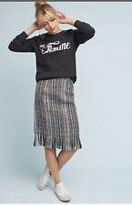 Anthroplogie Maeve Fringed Tweed Pencil Skirt Size 8 NWT $128