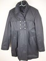 French Connection Womens Trench Coat Winter Jacket Padded Belted Size 8 Black