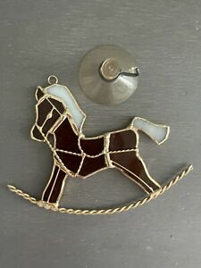 Tiffany Glass Sun Catcher Rocking Horse Brown Gold Accents White Mane Tail