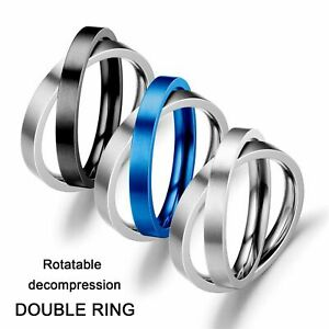 Steel Spinner Rings Rotate Freely Fidget Anxiety Ring Anti Stress Anxiety Toy