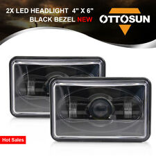 "OTTOSUN Pair 4""X6"" Black LED Daymaker Light Clear Sealed Beam Headlamp Headlight"