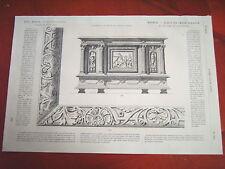 79-19-99 Gravure 19e meubles- bahut en chêne sculpté