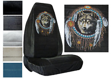 Velour Seat Covers Car Truck SUV Native Wolf Dreamcatcher High Back pp #Z