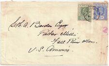 St HELENA 1902-8 1/2d, 2.1/2d sg 53, 64 used envelope 8 Aug 1912