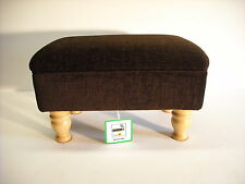 CHOCOLATE BROWN CHENILLE FABRIC FOOTSTOOL solid beech turned legs