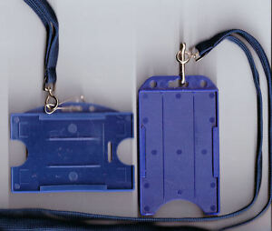 1 x ID Badge Card Rigid Holder & 10mm Lanyard: 11 Colours Available FREE UK P&P
