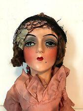 """1930s Antique """"Sterling"""" Boudoir Doll, 27.5"""", Composition, Original Dress"""