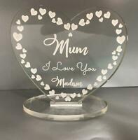 Personalised happy mothers day mother's day I love you heart plaque gift Mum Nan