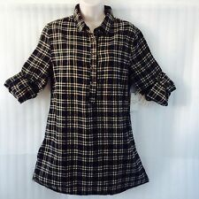 Authentic Jachs Women Plaid Shirt Top size10/12/M Taupe Green Black New $ 69