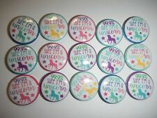 "99.9 % Unicorn Kawaii  1"" Pinback Button Pins Badge Goody Treats Party Favor Set"