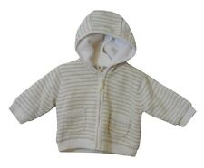 Baby Girls Boys Mothercare Yellow Grey Fleece Lined Hooded Jacket Age 0-3 Months