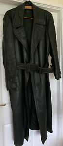 "Vintage WW2 German Officers Green Long Leather Coat 48""-XL"