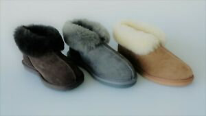 UGG Genuine Shearling Sheepskins Grip Sole Slippers/Scuffs Ankle Boots Unisex
