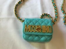 $595 Moschino Couture Jeremy Scott Quilted LEATHER Mini Chain Sky Blue Waist Bag