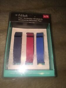 NEW Fitbit Flex Accessory Wristbands Size Large  3 Pack~~GREY/Red/Blue