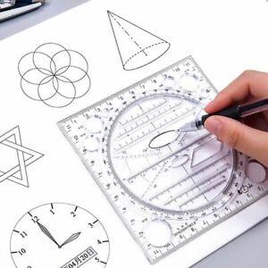 Multifunctional Drawing Ruler Springhall Angle & Circle Maker Drawing Geometric
