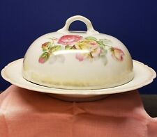 Vintage Porcelain Covered Pancake Dish Marked Germany Hand Painted Beauty