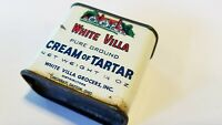 Vintage Rare White Villa Cream Of Tartar Spice Tin 1/2oz