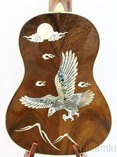 Alulu Solid Acacia Koa Tenor Ukulele Eagle MOP Inlaid Hard Case Hu689@