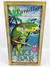 """Paradise Tiki Bar Parrot Wooden Sign - Large 26"""" x 14"""" - Ocean Beach Nautical"""