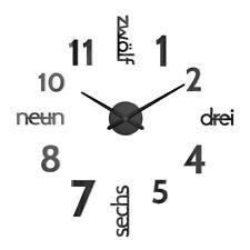 Wand Uhr Wohnzimmer Wanduhr Wandtattoo Aufkleber Deko XXL 3D-Design schwarz DHL