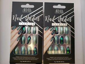 Lot of 2 Ardell Nail Addict False Nails Green Glitter Chrome - 24ct Free Ship