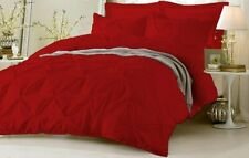 AU Puckered Ruffle Pintuck Pinch Duvet Cover & Pillowcase Bedding Set Blood Red