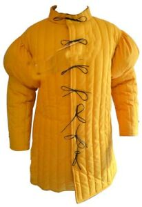 15th Century Yellow Gambeson Full Sleeve with Padded Shoulders