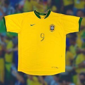 Brazil 2006/08 International Home Soccer Jersey Large Ronaldo 9 Nike Camiseta