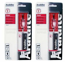 2 x ARALDITE RAPID ADHESIVE GLUE SUPER STRONG RED - 24ml SYRINGE - TWIN PACK