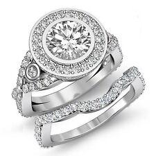 3.1ct Round Halo Diamond Bridal Set Engagement Ring GIA F VVS2 14k White Gold