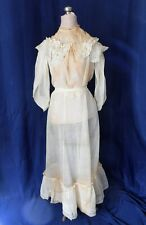 Antique Victorian Dress Beige Sheer Cotton Skirt Blouse Lace Fabric Doll Clothes