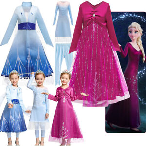 Frozen 2 Elsa Fancy Dress Up Princess Costume Girls Kids Birthday Party Clothing