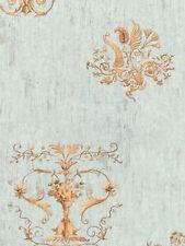 York Wallcoverings Ornate Sconce Scroll Victorian Vintage Blue Tan Wallpaper Diy