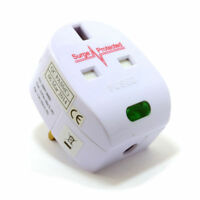 Surge Protected Fused 13A UK Rewireable Plug with Surged Pass Through Socket