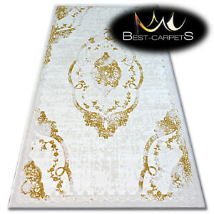 "SOFT ACRYLIC RUGS ""BEYAZIT"" Very Thick And Densely Woven HIGH QUALITY ivory gold"