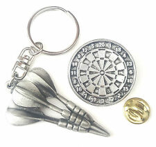 Darts Gift Set Handcrafted from Solid English Pewter In the UK KeyRing And Pin