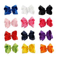 "8"" Inch Large Crystal Diamante Rhinestone Grosgrain Ribbon Bow Hair Clip Girls"
