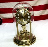 ⭐️Vintage Elgin Germany Glass Dome Clock Roman Numeral Face Runs⭐